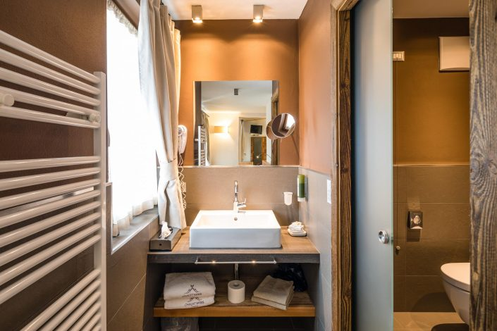 Badezimmer des Chalet Vites Mountain Hotel, Hotelfotografie, Interieurfotografie, Hotelzimmer, MANFRED SODIA photography